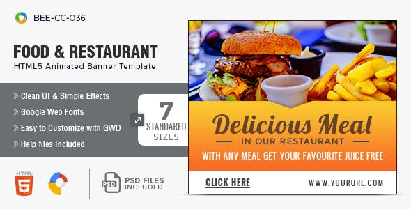 Food and Restaurant HTML5 Banners - 7 Sizes