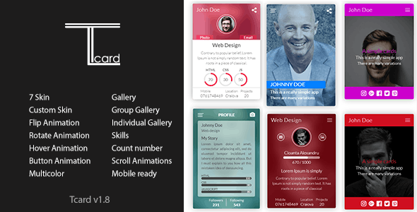 Tcard - Simple jQuery Plugin for Creating Cards