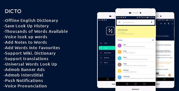 Dicto - A Pop up Offline English Dictionary