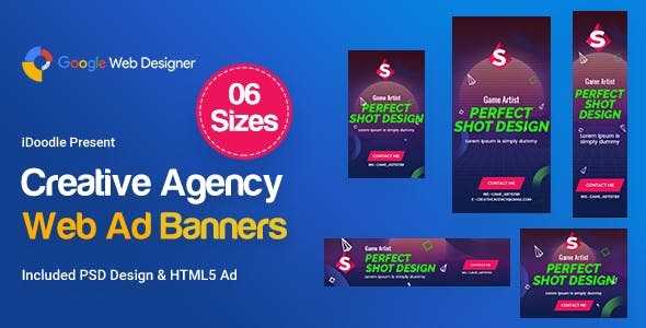 Creative, Startup Agency Banners HTML5 Ad D41 - GWD & PSD