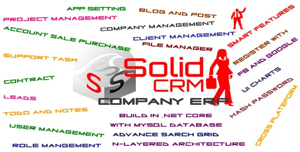 Solid CRM Asp.net core web application with MySql (Company Resource Management)