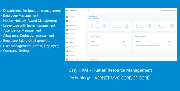 Easy HRM - Human Resource Management ASP.NET CORE EF CORE - CodeCanyon Item for Sale