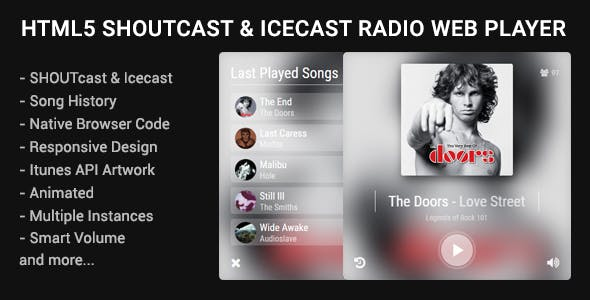 HTML5 Shoutcast & Icecast Radio Web Player
