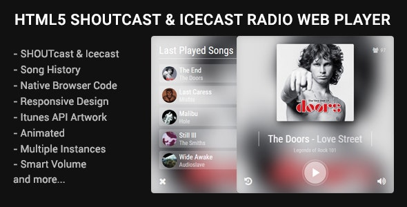 HTML5 Shoutcast & Icecast Radio Web Player - CodeCanyon Item for Sale