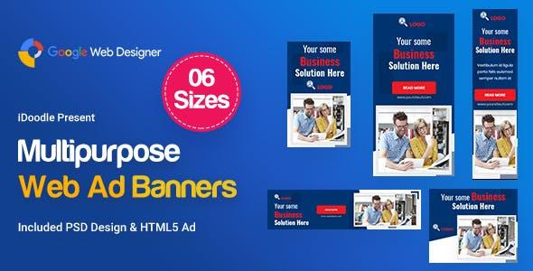Multi-Purpose Banners HTML5 D52 - GWD & PSD
