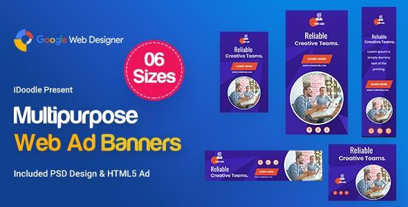 Multi-Purpose Banners HTML5 D54 - GWD & PSD