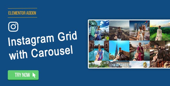Elementor Page Builder - Instagram Social Stream Grid With Carousel