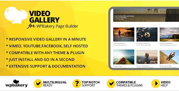 Elegant Mega Addons for WPBakery Page Builder (formerly Visual Composer) Video Gallery Module