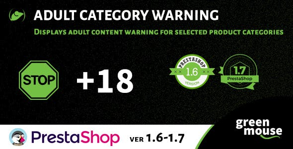 Prestashop Adult Category Warning
