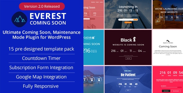 Everest Coming Soon - Ultimate Coming Soon, Maintenance Mode Plugin for WordPress - CodeCanyon Item for Sale