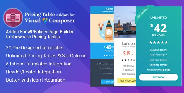 Pricing Tables Addon For Visual Composer - WPBakery Pricing Tables Addon for WordPress