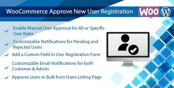 Wordpress & WooCommerce Approve New User Registration Plugin