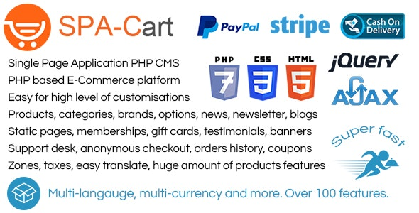 SPA-Cart - CMS  Very fast ajaxfied pages  Fully featured