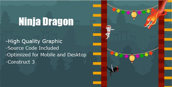 Ninja Dragon - HTML5 & Mobile Game (Construct 3 only)