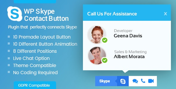 WP Skype Contact Button - Premium Skype Button Plugin for WordPress - CodeCanyon Item for Sale