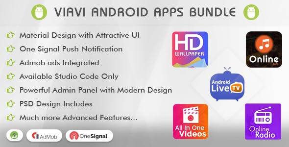Viavi Top 5 Android Apps Bundle (TV, Radio, Wallpaper, MP3 & Videos)