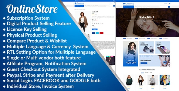 Online Store - Subscription Based Multi Vendor eCommerce Platform - CodeCanyon Item for Sale