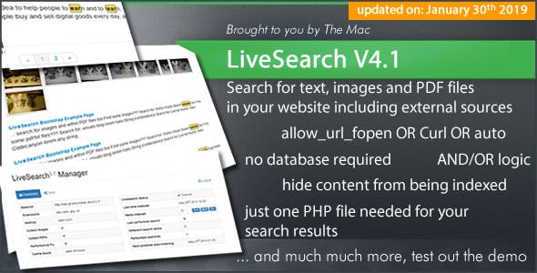 LiveSearch - Searchengine for your Website