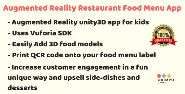 Augmented Reality Restaurant Food Menu App - Unity3D project + Android Studio Project + APK