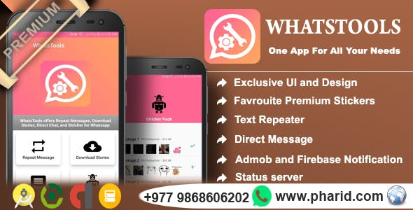 WhatsTools - Premium Whatsapp Tools | Beautiful UI, Admob, Push Notification