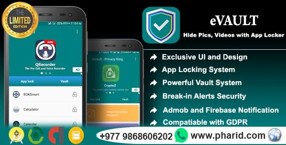 eVault - Hide Pics, Videos with AppLocker | Beautiful UI, Ads Slider, Admob, Push Notification