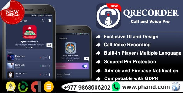 QRecorder - Call and Voice Pro | Beautiful UI, Ads Slider, Admob, Admin Panel, Push Notification