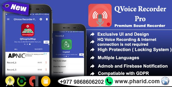 QVoice Recorder Pro - Beautiful UI, Ads Slider, Admob, Firebase Push Notification, Admin Panel