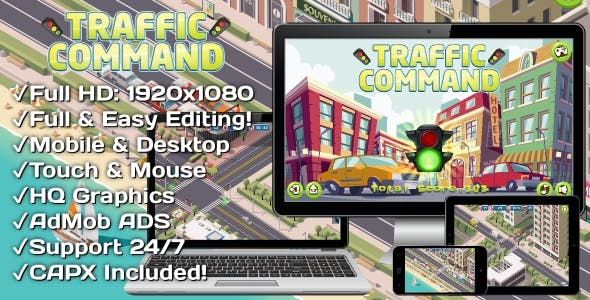Traffic Command - HTML5 Game + Mobile Version! (Construct 3 | Construct 2 | Capx)