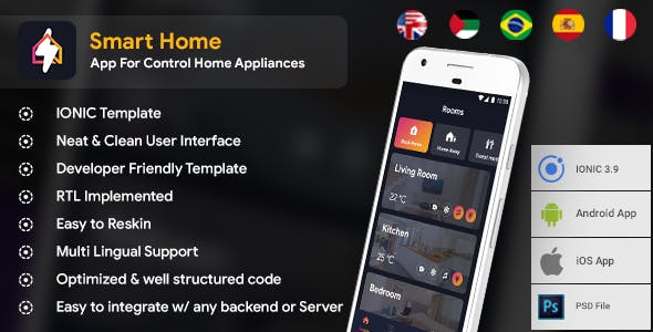 Smart Home Android App + Smart Home iOS App Template | HTML + Css IONIC 3