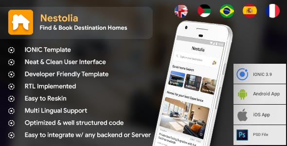 Destination Home Finder Android + iOS App Template | HTML + Css IONIC 3 | Nestolia