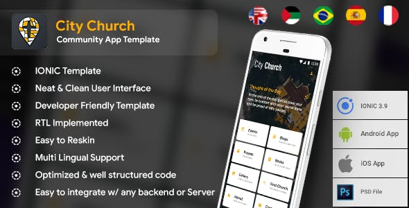 Community Android + iOS App Template | HTML + Css IONIC 3 | City Church