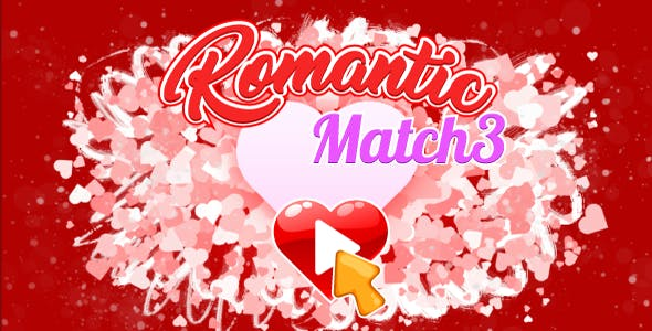 Romantic Match3 - HTML5 Game. Construct 2-3. AdSense. Mobile