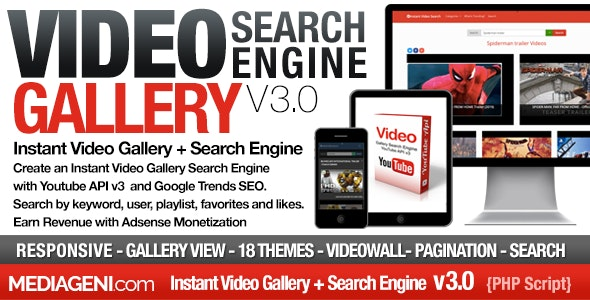 Instant Video Gallery Search Engine - CodeCanyon Item for Sale
