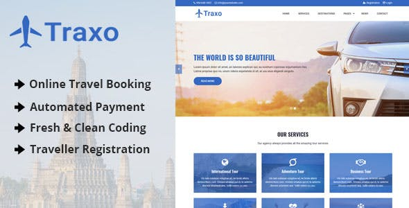 Traxo - Travel Agency CMS with Online Booking System - CodeCanyon Item for Sale