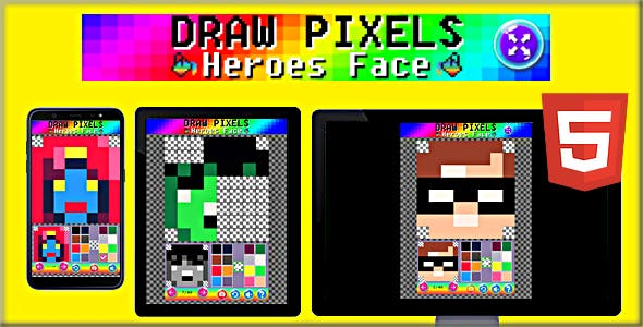 Draw Pixels Heroes Face | HTML5 Game Template