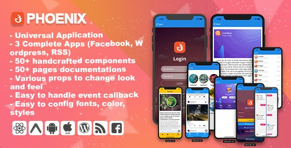Phoenix - Full multipurpose React-Native Application & UI Component