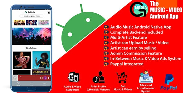 GoMedia - Multi Artist Music and Video Android App with Backend