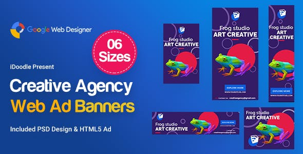 Creative, Startup Agency Banners HTML5 Ad D40 - GWD & PSD