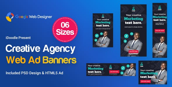 Creative, Startup Agency Banners HTML5 Ad D61 - GWD & PSD