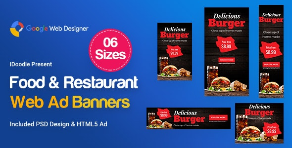 Food & Restaurant Banners HTML5 Ad D65 - GWD & PSD - CodeCanyon Item for Sale