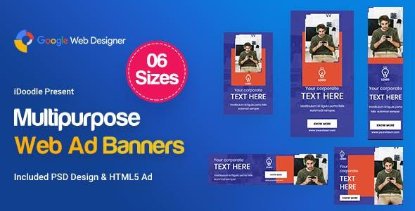 Multi-Purpose Banners HTML5 D67 Ad - GWD & PSD