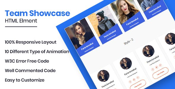MunTeam - Bootstrap Team Showcase Element