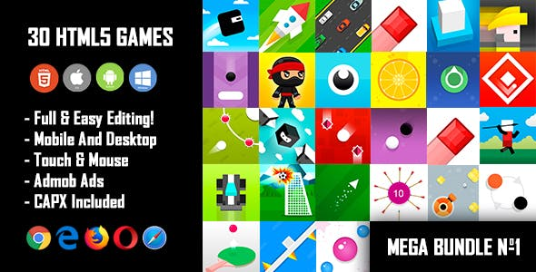 30 HTML5 Games + Mobile Version!!! MEGA BUNDLE №1 (Construct 2 / Construct 3 / CAPX)
