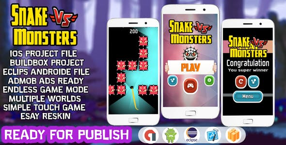 SNAKE VS MONSTERS - BUILDBOX TAMPLATE & ECLIPS ANDROID FILE