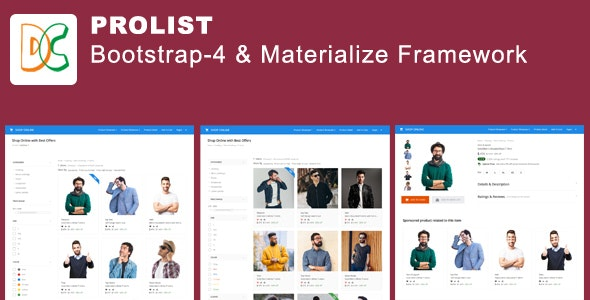 ProList - Bootstrap-4 and  Materialize Framework Layout - CodeCanyon Item for Sale