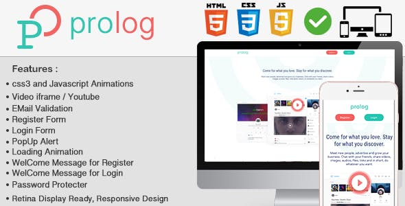 Prolog HTML5 Full Login & Register Page Template