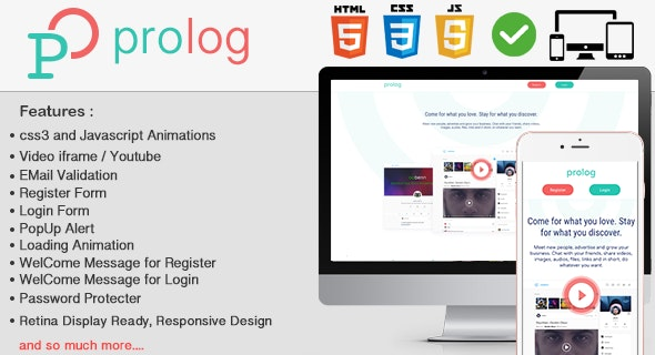 Prolog HTML5 Full Login & Register Page Template - CodeCanyon Item for Sale