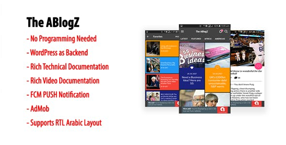ABlogZ   Native Android Blog or News App for WordPress Site with AdMob & FCM PUSH Notification