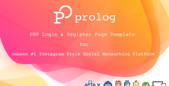 Prolog PHP FULL Login & Register Page for oobenn Instagram Style Social Networking Script