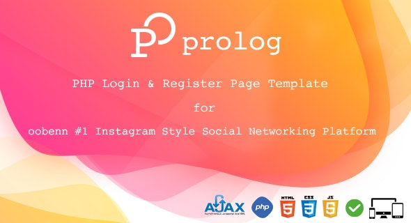 Prolog PHP FULL Login & Register Page for oobenn Instagram Style Social Networking Script - CodeCanyon Item for Sale